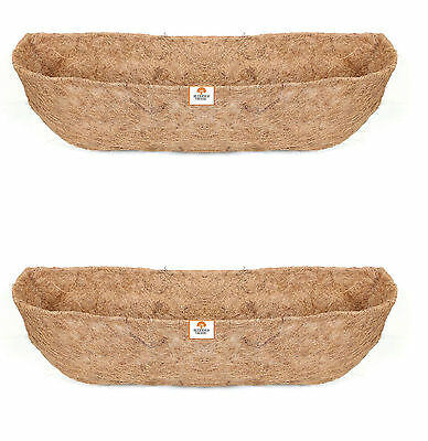 Twin Pack 60cm Window Box Liners - Wall Trough Liners - Wall Basket Liner- Coco