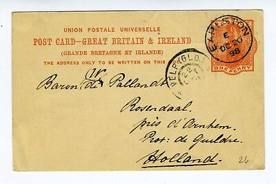 GB QV 1d red preprint stationery postcard from Earlston to Holland 1898