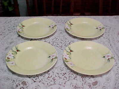 4 Rare Corelle Xmas Winter Harmony Lunch Plate Set White POINSETTIA Holly Berry