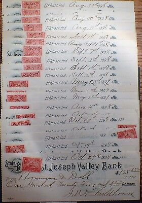 1898 Elkhart, IN BANK DEPOSIT CHECKS w/Documentary Stamps LOT OF 20 A3328