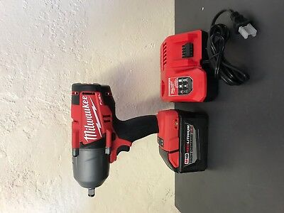 "MILWAUKEE 2763-20 1/2"" High Torque Impact Wrench With 1 M18 9.0 Battery+ Charger"