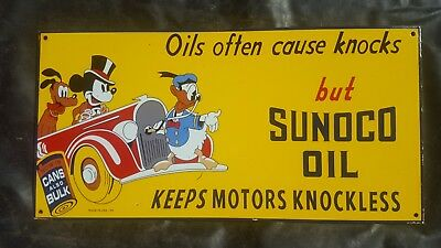 Sunoco Oil Disney Charactors porcelain sign Donald  Duck Mickey Mouse Pluto can