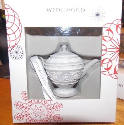 New Wedgwood Christmas Ornament Gray Iconic Teapot In Box Must See