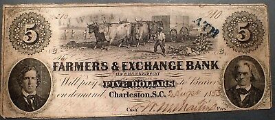1853 $5 FARMERS & EXCHANGE BANK Charleston SOUTH CAROLINA Note  Grade: F A3314