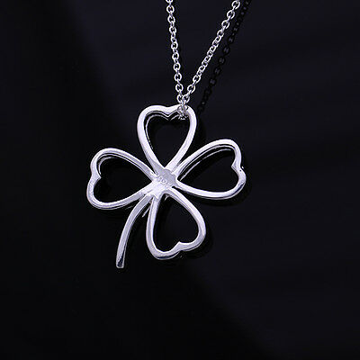 Auction item 925Solid Silver Hearts Womens Jewelry Clover Pendant Necklace