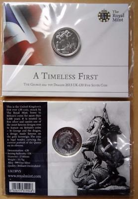 GB 2013 Royal Mint St George & Dragon pure silver £20 pound coin in sealed pack