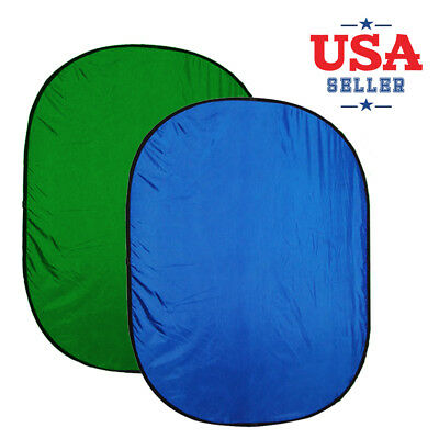 5'x7' Lightweight Reversible Popup Blue Green Screen Photo Studio Backdrop Panel