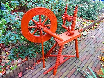 Vintage 1950s Dutch Limburgs Real Working Wooden Spinning Wheel - home made