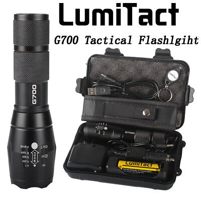 Bright 8000lm Genuine Lumitact G700 Tactical Flashlight Military Torch + Battery