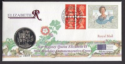 1996  70th Birthday of Queen £5 Coin Cover  -  Cancel as Scan   (4309)