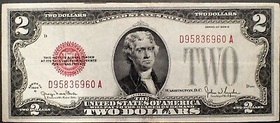 1928-G $2 UNITED STATES NOTE TWO DOLLAR BILL Red Seal Grade AU A3289