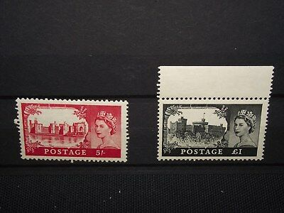 GB 1955 castles 5/ + £1 mounted mint (£1 mounted in margin) sg 537+539 cat £180-
