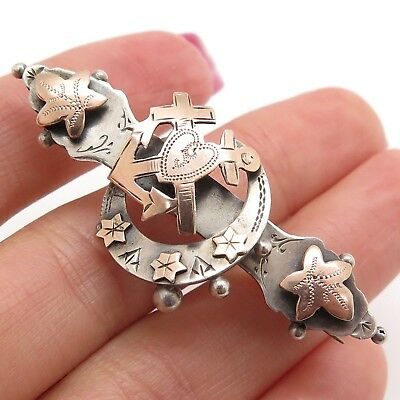 1900s Antique Victorian England 925 Sterling Silver Handmade Brooch Signed M&J