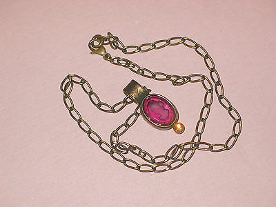 Antique Intaglio Pink Glass Cameo ~ Gold Filled Frame & Link Chain