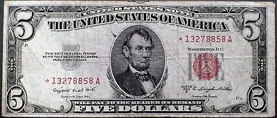 1953-B $5 UNITED STATES NOTE  *STAR NOTE* Red Seal Grade F A3282