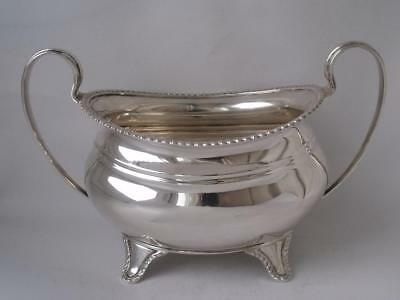 Well-Made Solid Sterling Silver Sugar Bowl 1947/ L 16.8 cm/ 222 g