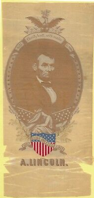 """LARGE Abraham Lincoln Campaign silk ribbon, """"Charity to All"""", 1865 Original!"""