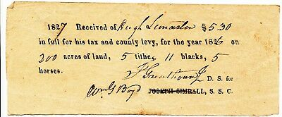 BLACK AMERICANA: 1827 Tax Receipt for 11 slaves & 200 acres of land. IMPORTANT