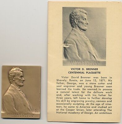 Victor David Brenner Centennial Birth Plaquette with Abraham Lincoln! 1971 NICE!