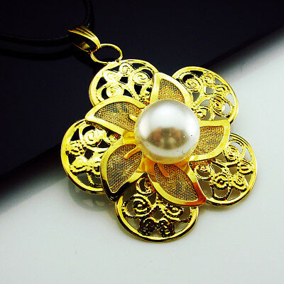 Free 18KGP Gold Plate Noble Hollow Flowers Pearl Pendant Charm Chains Necklaces