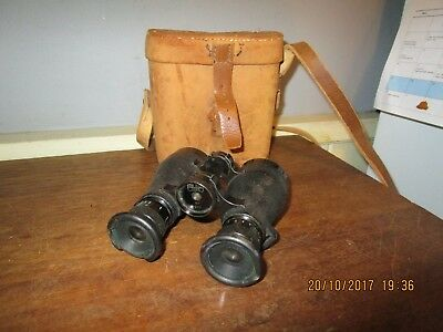 Antique WW1 era Carl Zeiss 4 x Binoculars number 662 with Leather case .