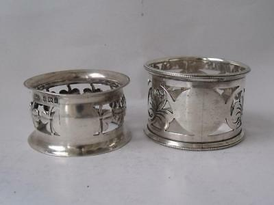 2 Pierced Solid Sterling Silver Napkin Rings: 1903 & 1922