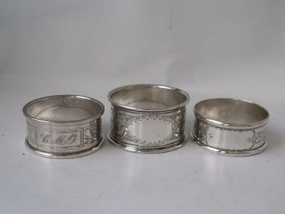3 Pretty Engraved Solid Sterling Silver Napkin Rings: English Hallmarks