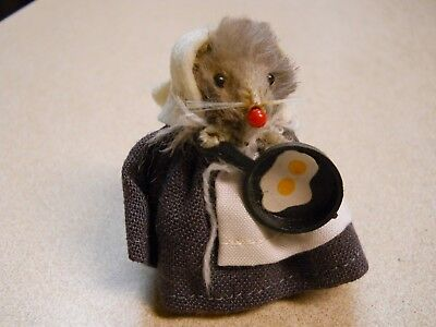Vintage Original Fur Toy Mouse Miniature Amish Frying Egg Made in Germany
