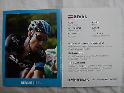Bernie Eisel Team Sky Pro Cycling Tour Of Britain 2013 Official Photocard