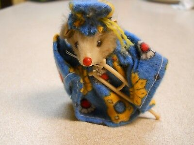 Vintage Original Fur Toy Mouse Miniature Hospital with Crutch Made in Germany