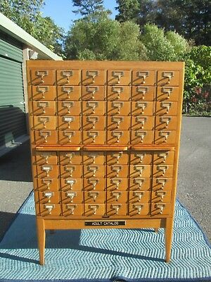 Vintage Oak 60 Drawer Library Card Catalog Cabinet Gaylord Bros