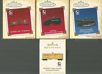 Lot of Four Hallmark Lionel Christmas Train Ornaments