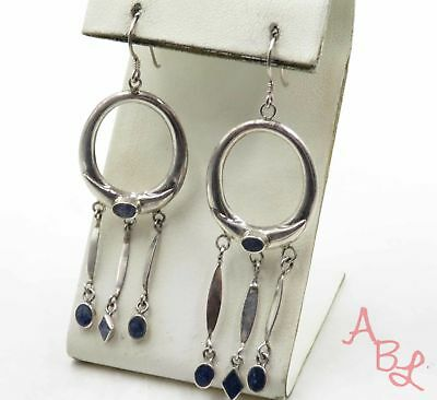 Sterling Silver Vintage 925 Oval Sodalite Chandelier Earrings (6.7g) - 573237