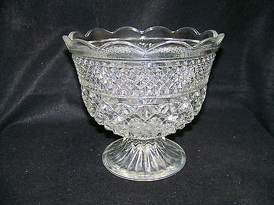 Anchor Hocking WEXFORD CENTERPIECE COMPOTE BOWL, FOOTED, WITH SCALLOPED RIM