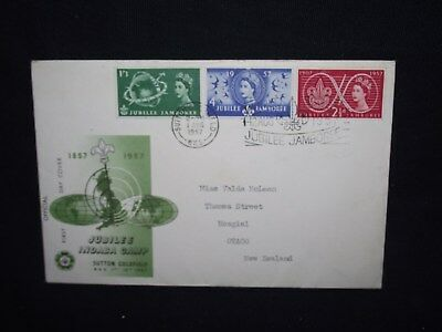 GB first day cover 1957 scout jubilee with a slogan cancel.