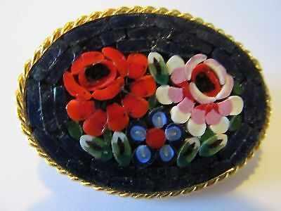 Italian Micro Mosaic Royal Navy Blue & Multi-Tones Of Floral Designed Brooch Pin