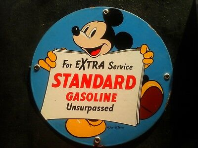 MICKEY MOUSE STANDARD GASOLINE porcelain sign DISNEY garage service station can