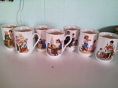 Norman Rockwell collector coffee mugs - set of 7