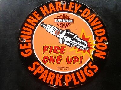 Vintage HARLEY DAVIDSON FIRE ONE UP SPARK PLUGS porcelain sign Milwaukee Wisc.