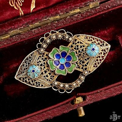 Antique Vintage Deco 800 Sterling Silver Portuguese Filigree Enamel Brooch Pin