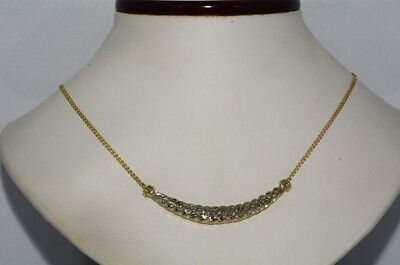 $3,000 .68Ct Natural Round Cut Diamond Cluster Hanging Necklace 10K 2 Tone Gold