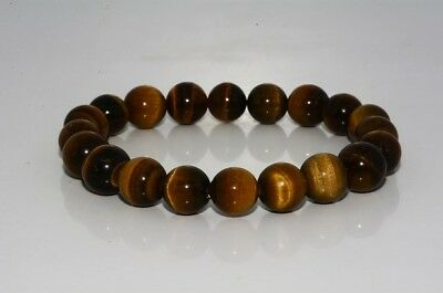 $500 145.90Ct Natural Round Cut Golden Brown Tiger Eye Stretchy Bangle