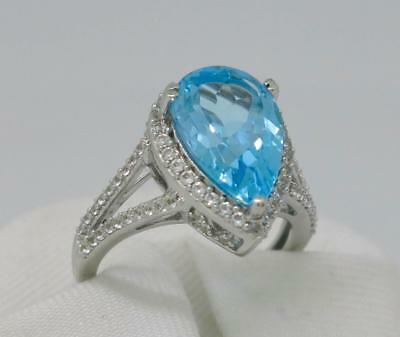 Natural 5.00ctw Vivid Blue Topaz & White Sapphire Sterling Silver Ladies Ring 5g