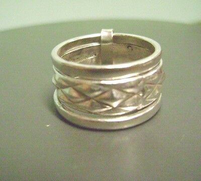 Vintage Mexico .925 3 Band Center Design Sterling Silver Ring