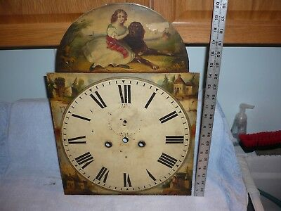 ANTIQUE  HAND PAINTED CLOCK FACE for TALL CASE GRANDFATHER CLOCK, dog & girl