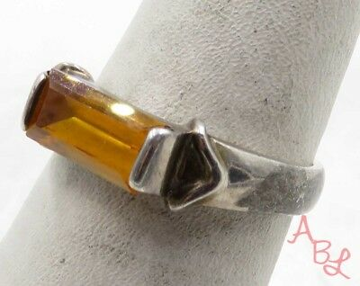 Sterling Silver 925 Emerald Cut Solitaire Citrine Ring Sz 6.75 (3.4g) - 575266