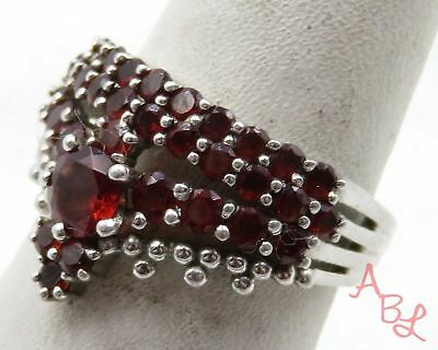 Sterling Silver Vintage 925 Cocktail Prong Set Red Stone Ring Sz 7 4.1g 575536