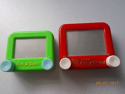 Red Pocket & Green Mini Ohio Art Etch A Sketch Toys, Both of Modern Manufacture
