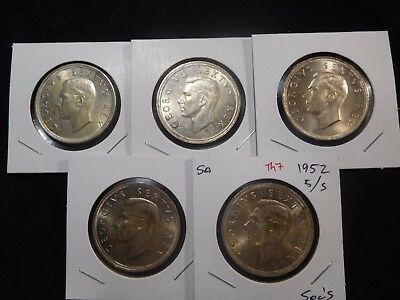 INV #Th7 South Africa 1952 5 Shilling Crown 5 Pieces