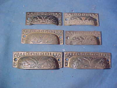 6-19thc VICTORIAN Era Cast BRASS APOTHECARY Cabinet DRAWER PULLS Mixed Sizes